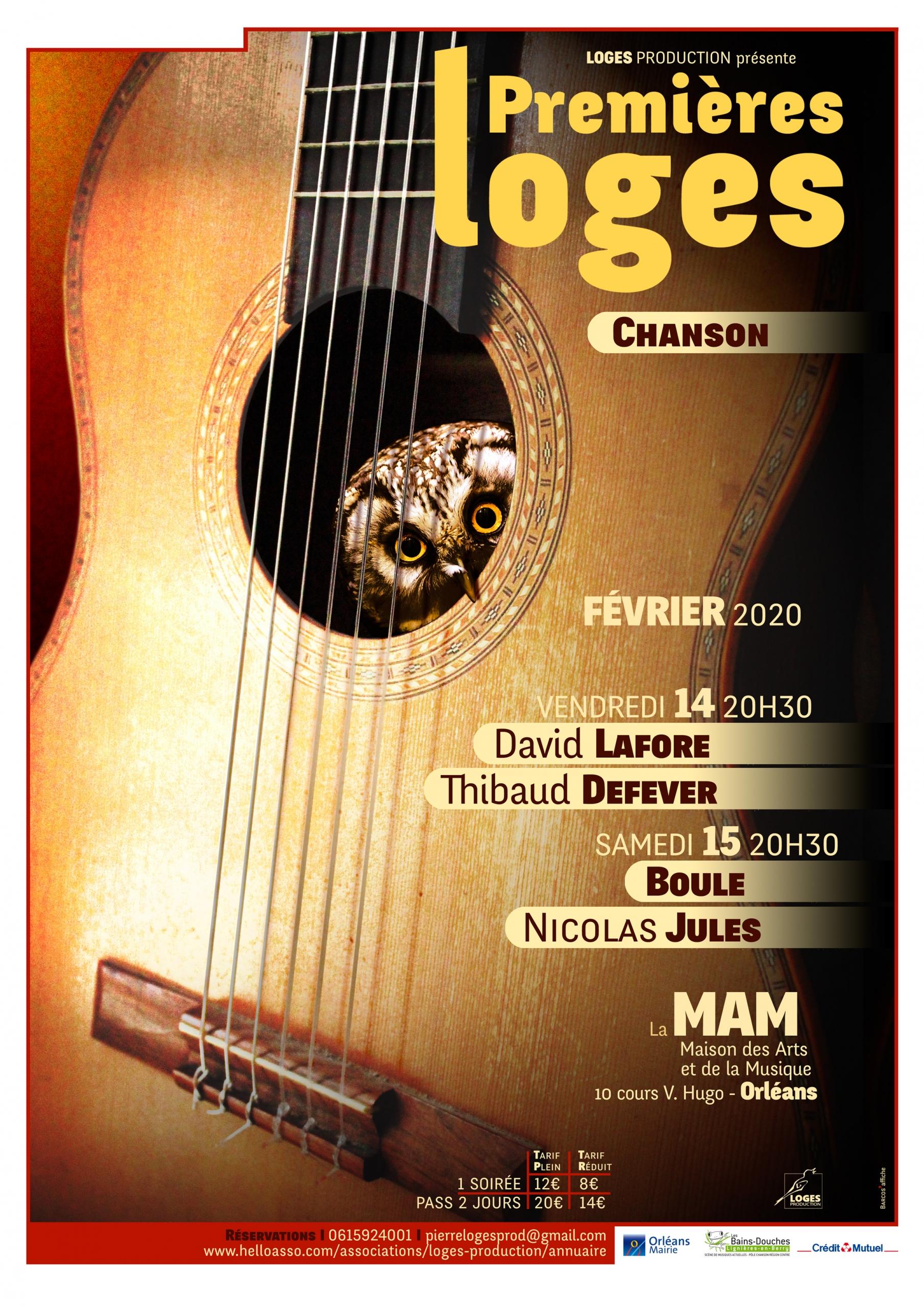 Affiche Festival Premières LOGES 2020, chanson française contemporaine